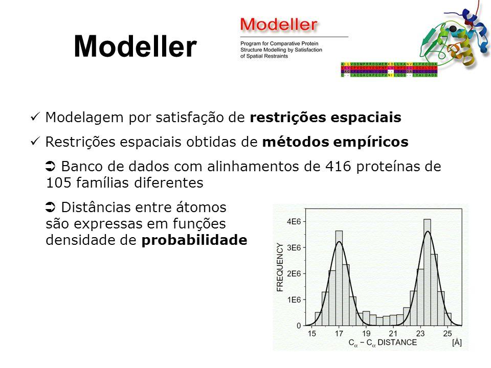 Modeller Modelagem por satisfação de restrições espaciais Restrições espaciais obtidas de métodos empíricos  Banco de dados com alinhamentos de 416 proteínas de 105 famílias diferentes  Distâncias entre átomos são expressas em funções densidade de probabilidade