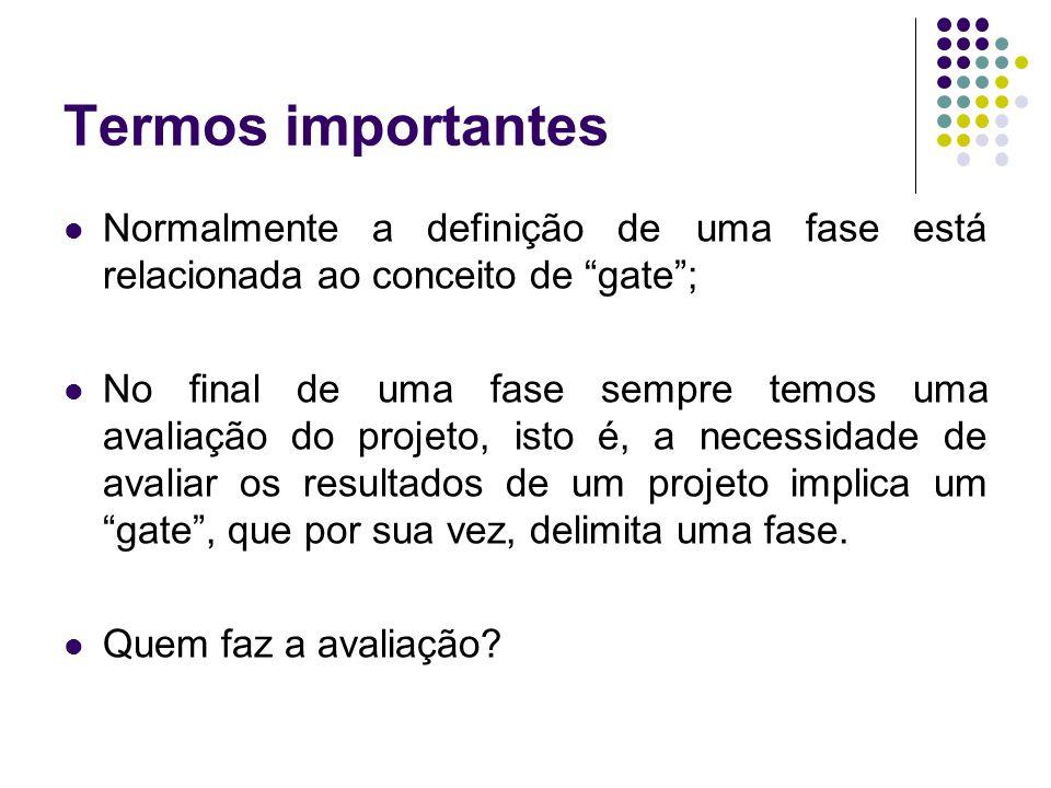 """Termos importantes Normalmente a definição de uma fase está relacionada ao conceito de """"gate""""; No final de uma fase sempre temos uma avaliação do proj"""