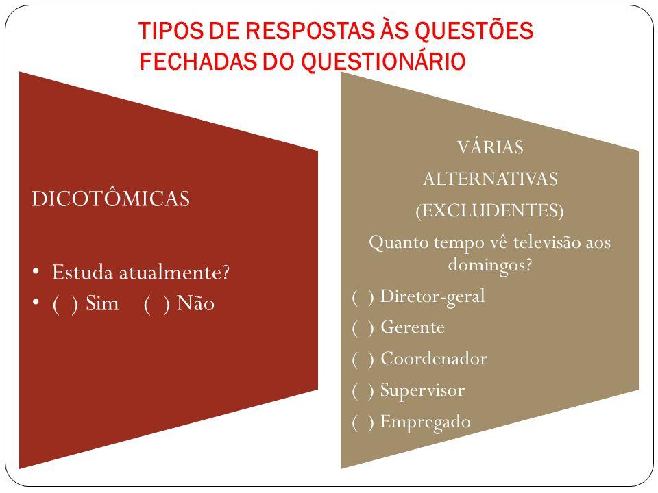 TIPOS DE RESPOSTAS ÀS QUESTÕES FECHADAS DO QUESTIONÁRIO DICOTÔMICAS Estuda atualmente? ( ) Sim ( ) Não VÁRIAS ALTERNATIVAS (EXCLUDENTES) Quanto tempo