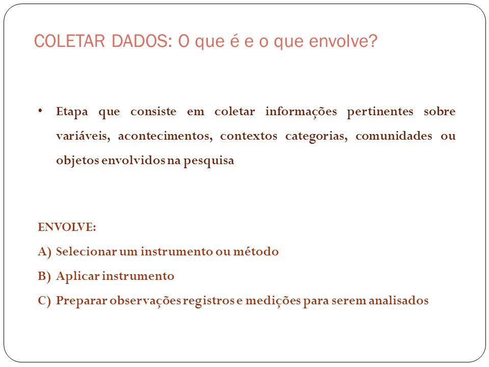 COLETAR DADOS: O que é e o que envolve? ENVOLVE: A)Selecionar um instrumento ou método B)Aplicar instrumento C)Preparar observações registros e mediçõ