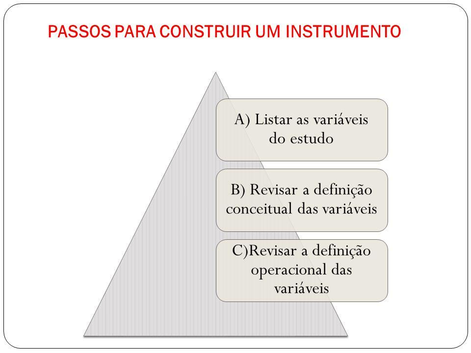 PASSOS PARA CONSTRUIR UM INSTRUMENTO A) Listar as variáveis do estudo B) Revisar a definição conceitual das variáveis C)Revisar a definição operaciona