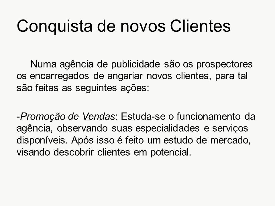 Conquista de novos Clientes Numa agência de publicidade são os prospectores os encarregados de angariar novos clientes, para tal são feitas as seguint