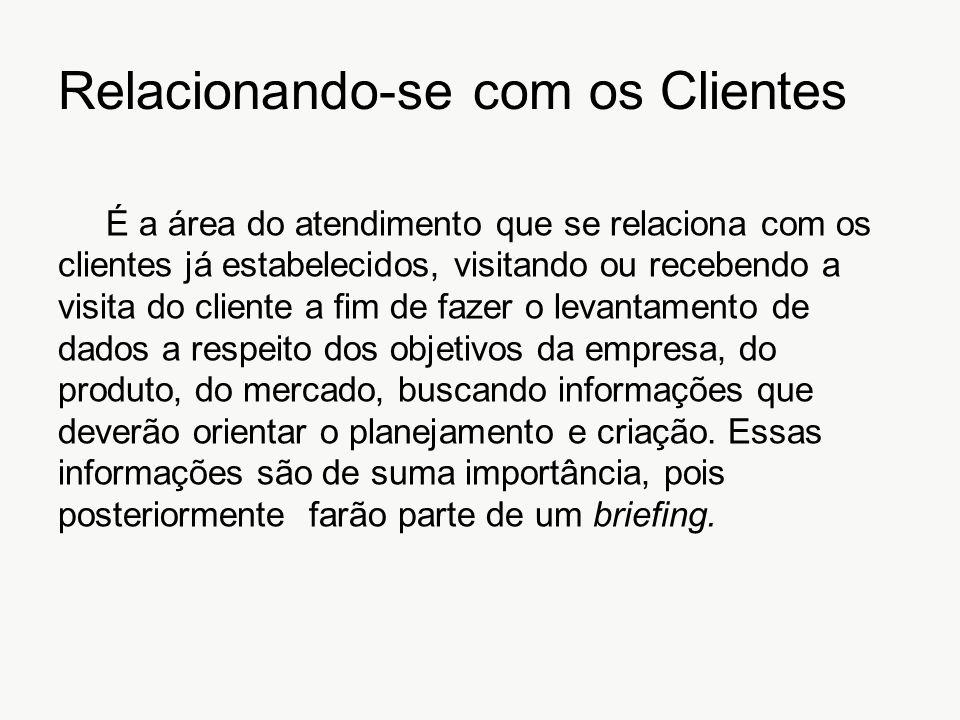 Relacionando-se com os Clientes É a área do atendimento que se relaciona com os clientes já estabelecidos, visitando ou recebendo a visita do cliente