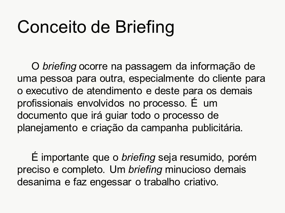 Conceito de Briefing O briefing ocorre na passagem da informação de uma pessoa para outra, especialmente do cliente para o executivo de atendimento e
