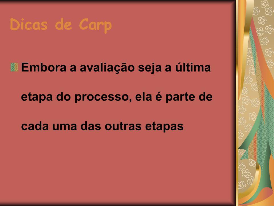 Dicas de Carp Embora a avaliação seja a última etapa do processo, ela é parte de cada uma das outras etapas