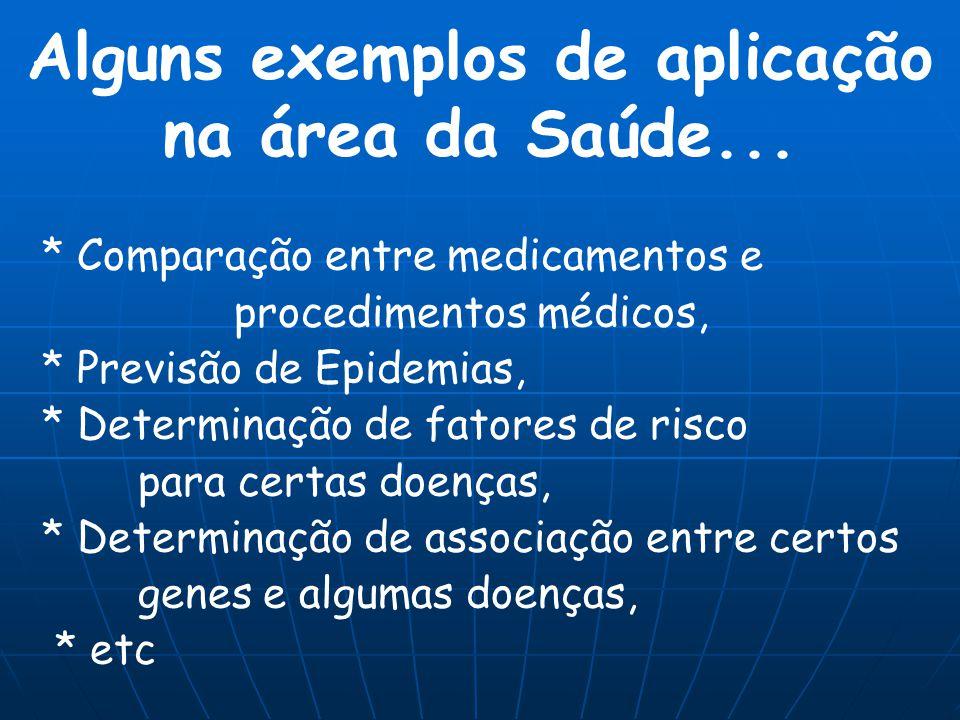 Alguns exemplos de aplicação na área da Saúde... * Comparação entre medicamentos e procedimentos médicos, * Previsão de Epidemias, * Determinação de f