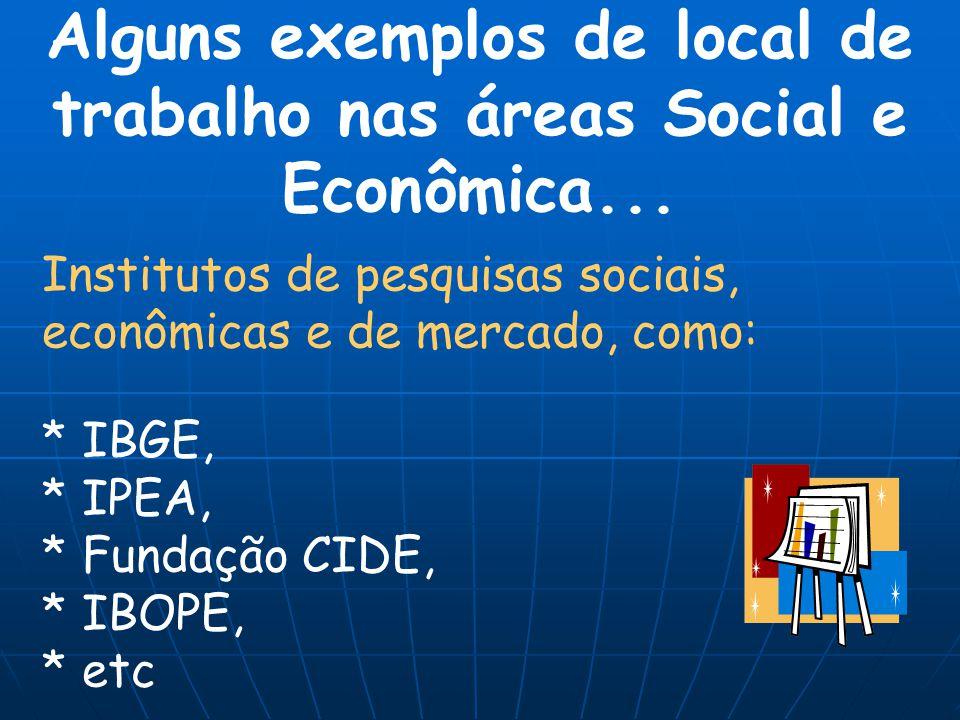 Institutos de pesquisas sociais, econômicas e de mercado, como: * IBGE, * IPEA, * Fundação CIDE, * IBOPE, * etc Alguns exemplos de local de trabalho n
