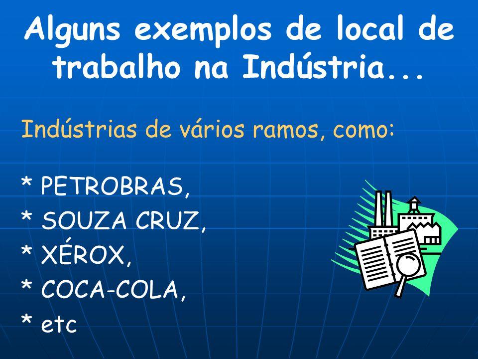Alguns exemplos de local de trabalho na Indústria... Indústrias de vários ramos, como: * PETROBRAS, * SOUZA CRUZ, * XÉROX, * COCA-COLA, * etc