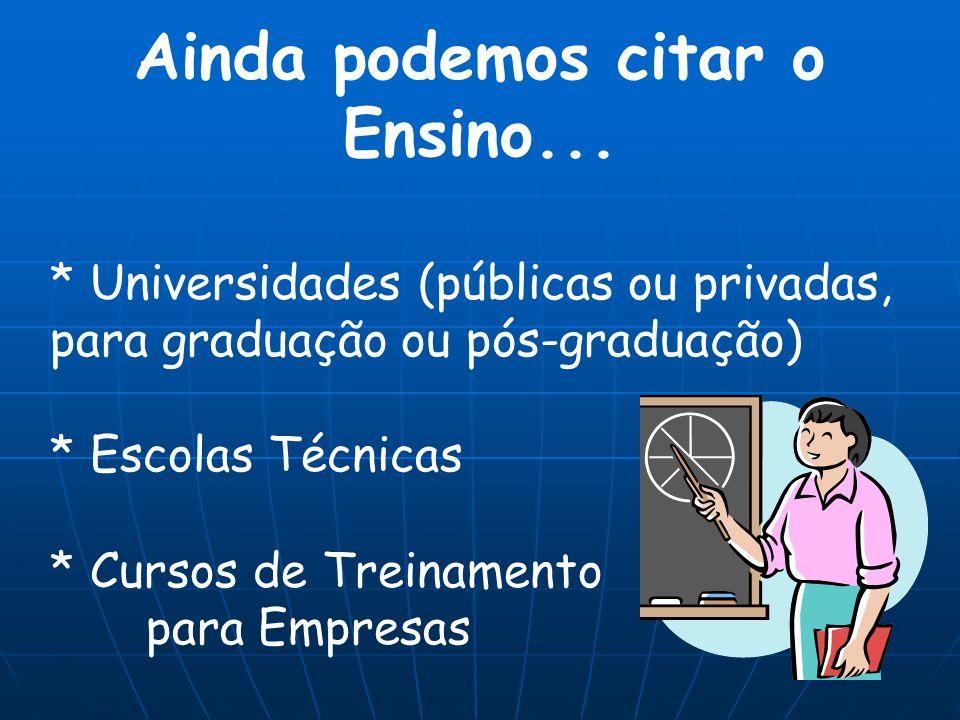 Ainda podemos citar o Ensino... * Universidades (públicas ou privadas, para graduação ou pós-graduação) * Escolas Técnicas * Cursos de Treinamento par