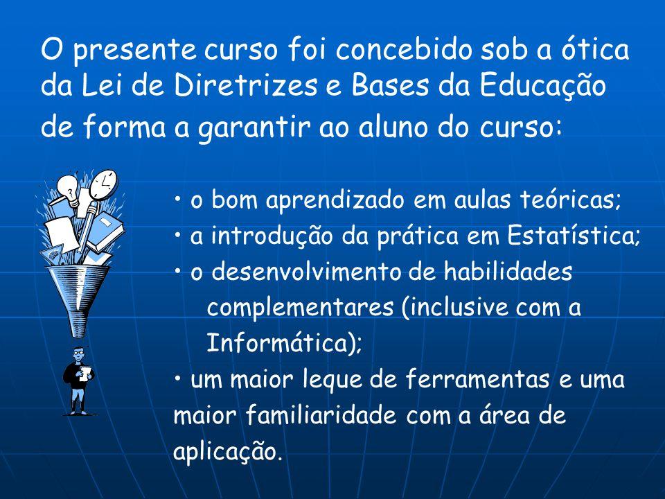 O presente curso foi concebido sob a ótica da Lei de Diretrizes e Bases da Educação o bom aprendizado em aulas teóricas; a introdução da prática em Es