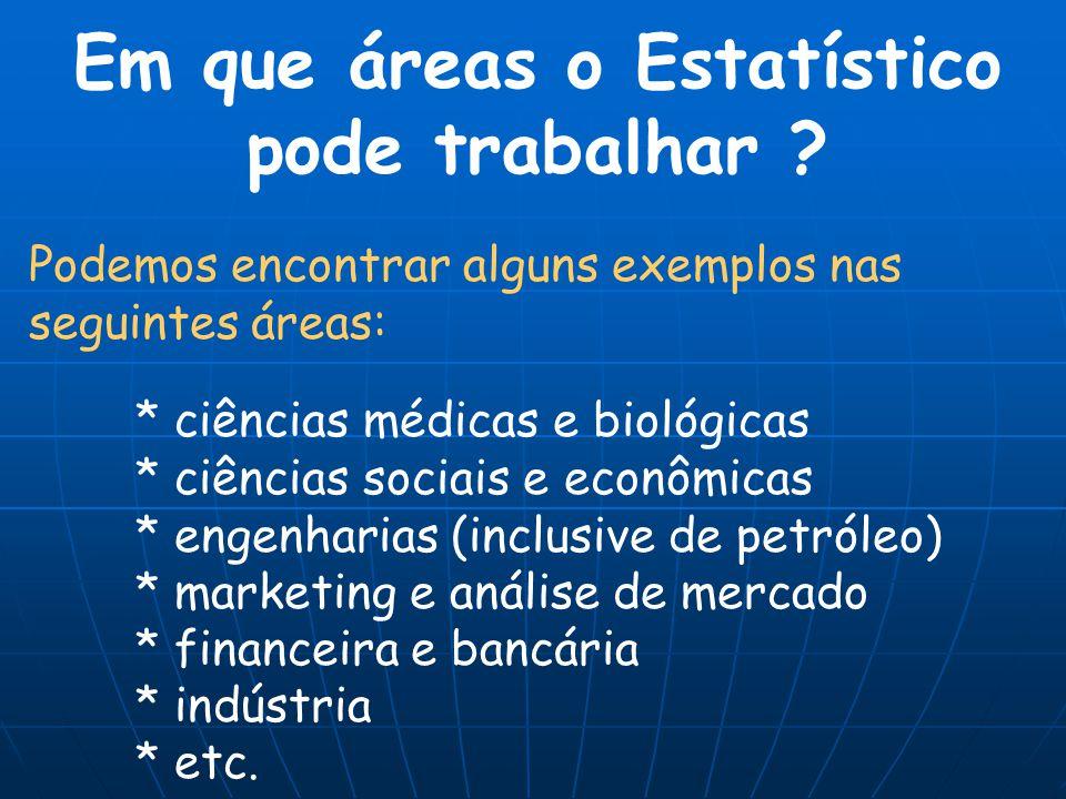 Podemos encontrar alguns exemplos nas seguintes áreas: * ciências médicas e biológicas * ciências sociais e econômicas * engenharias (inclusive de pet