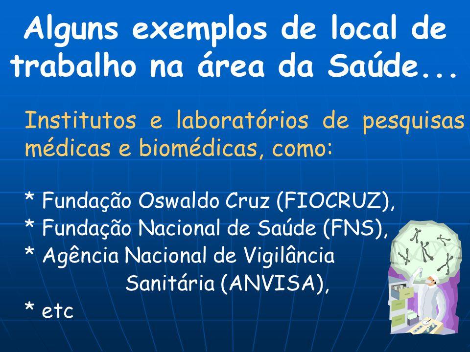 Institutos e laboratórios de pesquisas médicas e biomédicas, como: * Fundação Oswaldo Cruz (FIOCRUZ), * Fundação Nacional de Saúde (FNS), * Agência Na