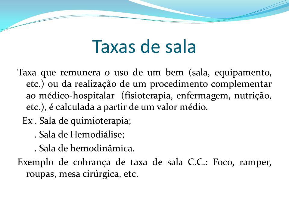 Taxas de sala Taxa que remunera o uso de um bem (sala, equipamento, etc.) ou da realização de um procedimento complementar ao médico-hospitalar (fisio
