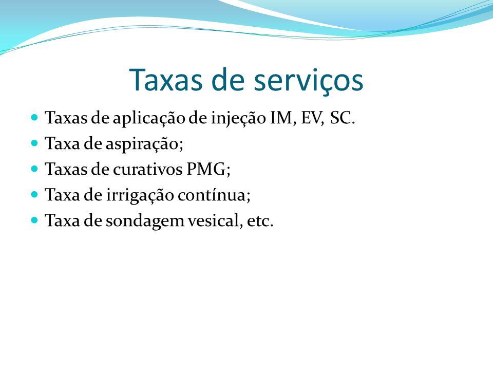 Taxas de serviços Taxas de aplicação de injeção IM, EV, SC. Taxa de aspiração; Taxas de curativos PMG; Taxa de irrigação contínua; Taxa de sondagem ve