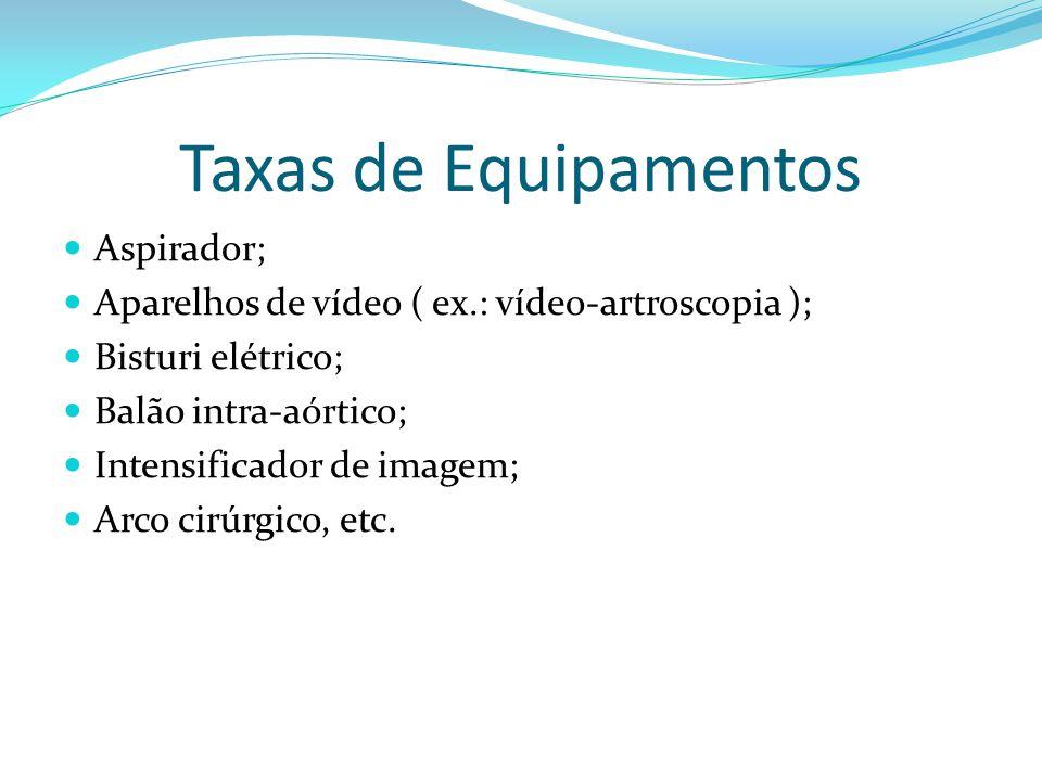 Taxas de Equipamentos Aspirador; Aparelhos de vídeo ( ex.: vídeo-artroscopia ); Bisturi elétrico; Balão intra-aórtico; Intensificador de imagem; Arco