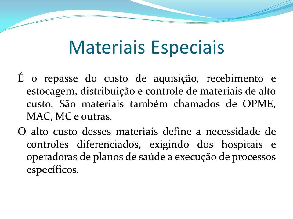 Materiais Especiais É o repasse do custo de aquisição, recebimento e estocagem, distribuição e controle de materiais de alto custo. São materiais tamb