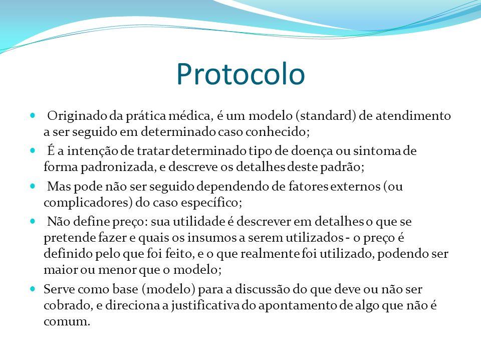 Protocolo Originado da prática médica, é um modelo (standard) de atendimento a ser seguido em determinado caso conhecido; É a intenção de tratar deter