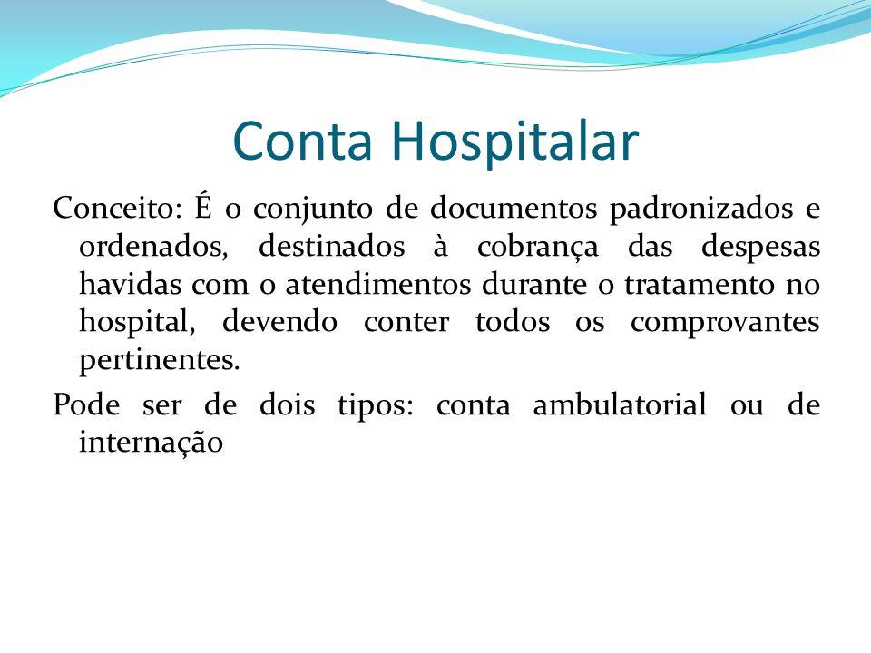 Conta Hospitalar Conceito: É o conjunto de documentos padronizados e ordenados, destinados à cobrança das despesas havidas com o atendimentos durante