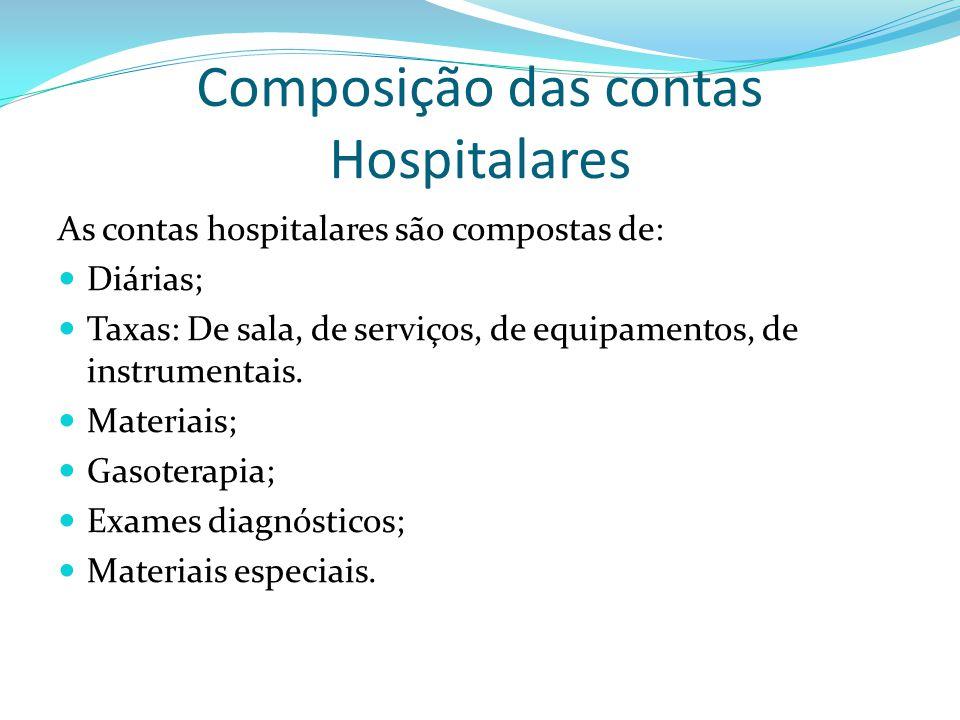 Composição das contas Hospitalares As contas hospitalares são compostas de: Diárias; Taxas: De sala, de serviços, de equipamentos, de instrumentais. M