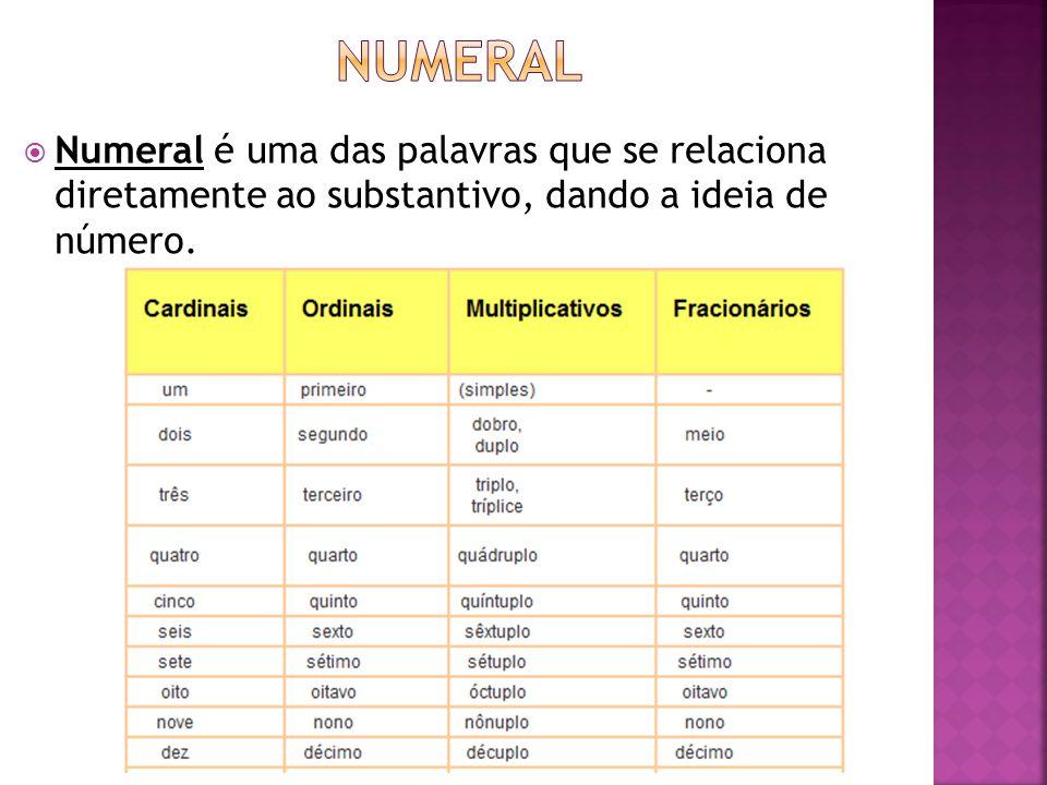  Numeral é uma das palavras que se relaciona diretamente ao substantivo, dando a ideia de número.