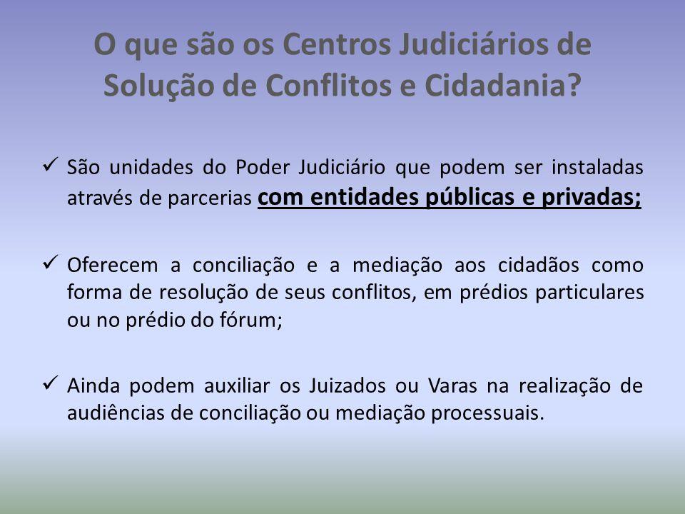 O que são os Centros Judiciários de Solução de Conflitos e Cidadania.