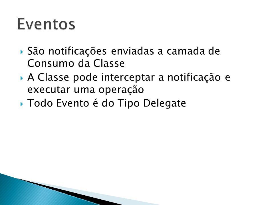  São notificações enviadas a camada de Consumo da Classe  A Classe pode interceptar a notificação e executar uma operação  Todo Evento é do Tipo Delegate