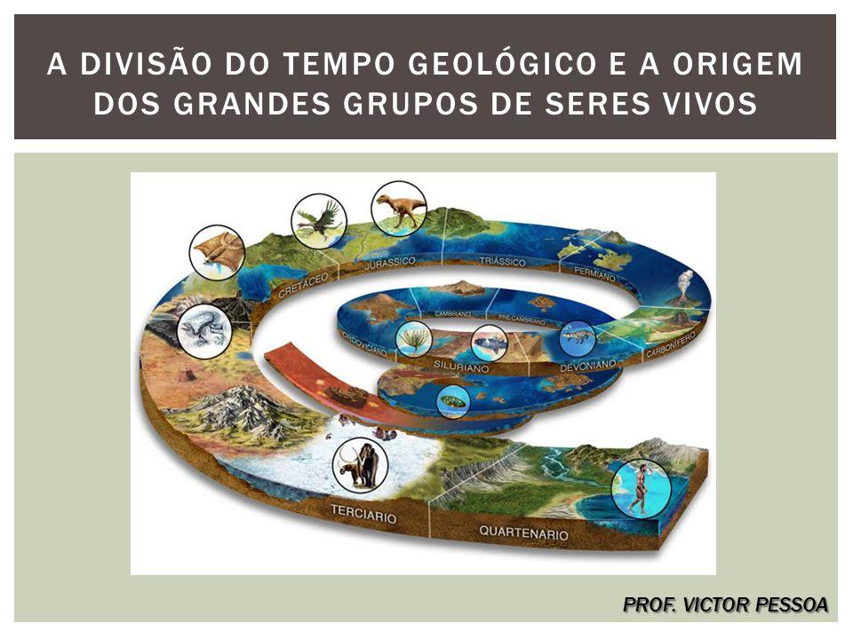 A DIVISÃO DO TEMPO GEOLÓGICO E A ORIGEM DOS GRANDES GRUPOS DE SERES VIVOS PROF. VICTOR PESSOA