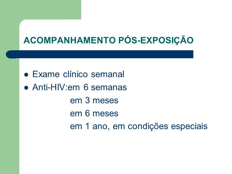 ACOMPANHAMENTO PÓS-EXPOSIÇÃO Exame clínico semanal Anti-HIV:em 6 semanas em 3 meses em 6 meses em 1 ano, em condições especiais