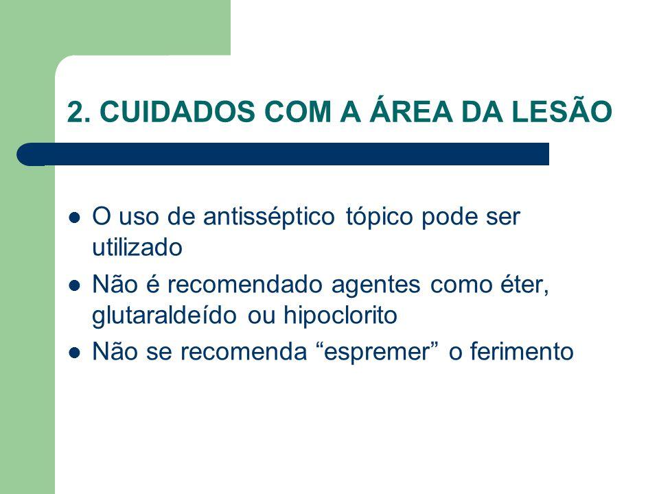 """O uso de antisséptico tópico pode ser utilizado Não é recomendado agentes como éter, glutaraldeído ou hipoclorito Não se recomenda """"espremer"""" o ferime"""