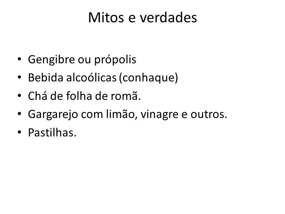 Mitos e verdades Gengibre ou própolis Bebida alcoólicas (conhaque) Chá de folha de romã. Gargarejo com limão, vinagre e outros. Pastilhas.