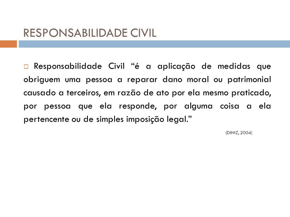 """RESPONSABILIDADE CIVIL  Responsabilidade Civil """"é a aplicação de medidas que obriguem uma pessoa a reparar dano moral ou patrimonial causado a tercei"""
