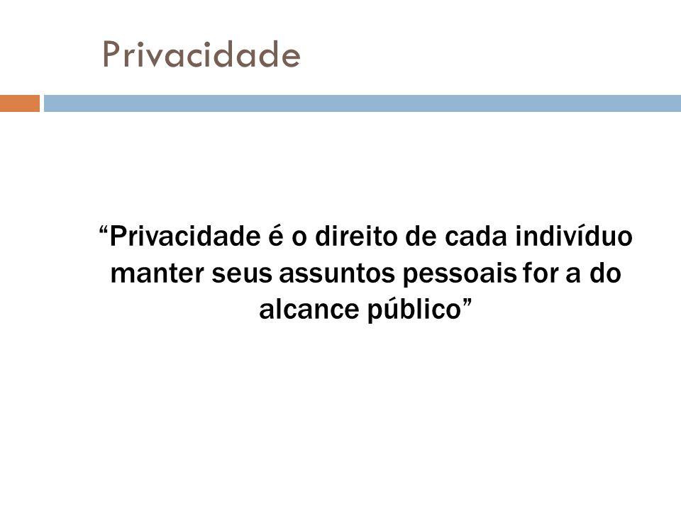 """Privacidade """"Privacidade é o direito de cada indivíduo manter seus assuntos pessoais for a do alcance público"""""""