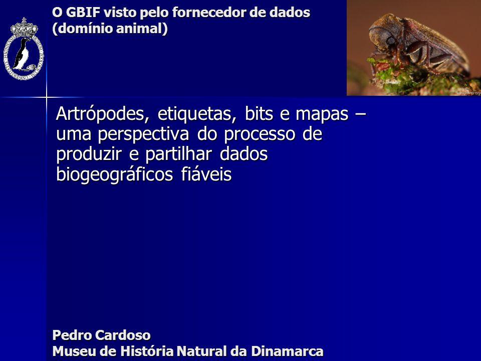 O GBIF visto pelo fornecedor de dados (domínio animal) Número de registos (records) de aranhas em Portugal (especie x local) - 90% GBIF-ready