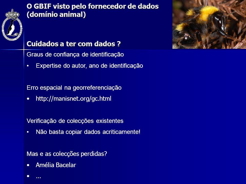 O GBIF visto pelo fornecedor de dados (domínio animal) Cuidados a ter com dados ? Graus de confiança de identificação Expertise do autor, ano de ident