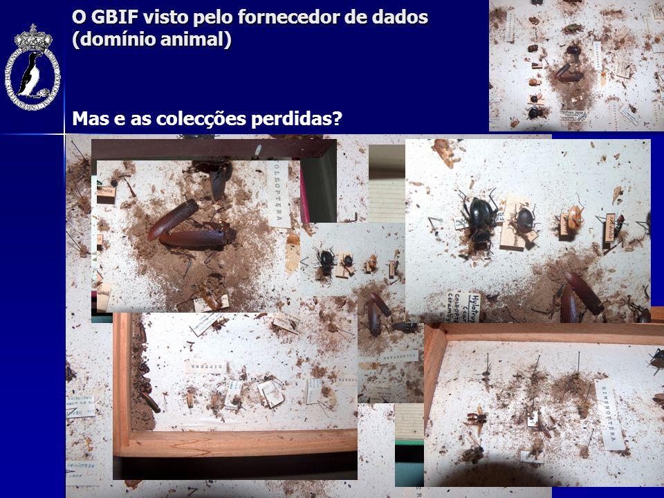 O GBIF visto pelo fornecedor de dados (domínio animal) Mas e as colecções perdidas?