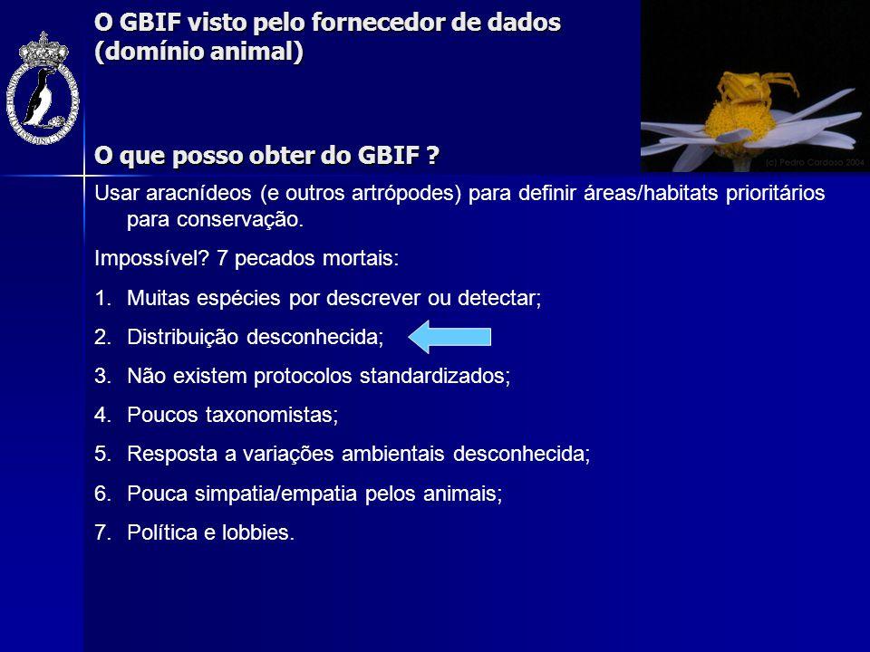 O GBIF visto pelo fornecedor de dados (domínio animal) Trabalho de campo PNDI (2001) PNSAC (2002) RNPB (2002) PNVG (2000/3/6) PNA (2004) PNPG (2005) 2 fases: 1.2000/3 - Baixa intensidade, 24 áreas, anual, 1 colector, 1/3 métodos 2.2003/6 - Alta intensidade, 3 x 1ha, 8/10 dias, 8/10 colectores, 6/10 métodos