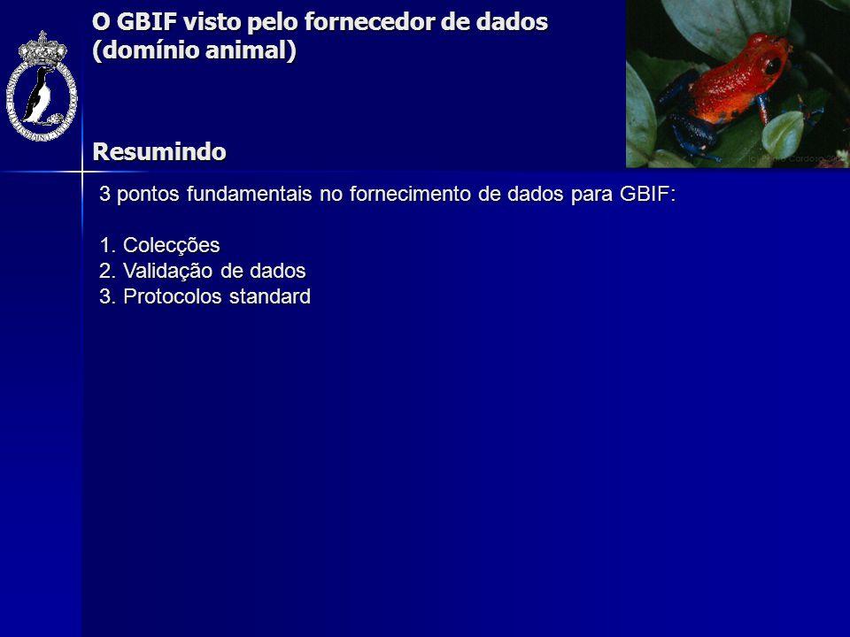 O GBIF visto pelo fornecedor de dados (domínio animal) 3 pontos fundamentais no fornecimento de dados para GBIF: 1. Colecções 2. Validação de dados 3.