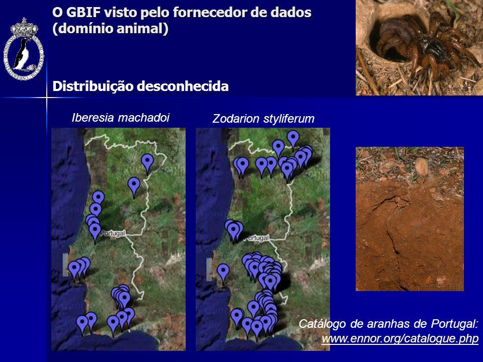 O GBIF visto pelo fornecedor de dados (domínio animal) Iberesia machadoi Zodarion styliferum Distribuição desconhecida Catálogo de aranhas de Portugal