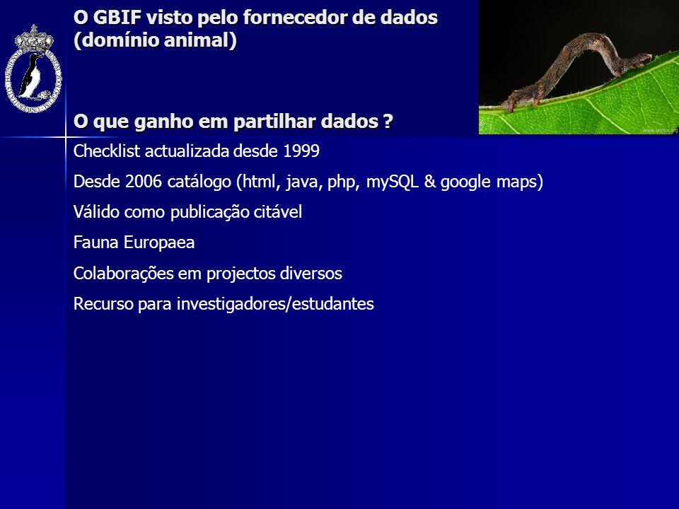 O GBIF visto pelo fornecedor de dados (domínio animal) O que ganho em partilhar dados ? Checklist actualizada desde 1999 Desde 2006 catálogo (html, ja