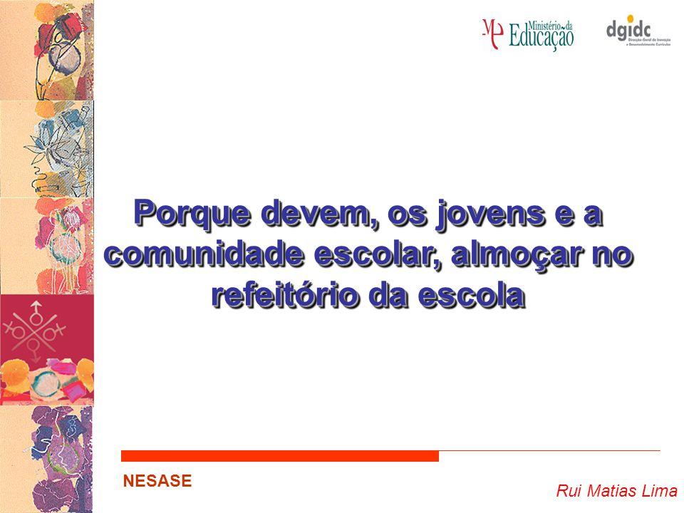 Rui Matias Lima NESASE Porque devem, os jovens e a comunidade escolar, almoçar no refeitório da escola