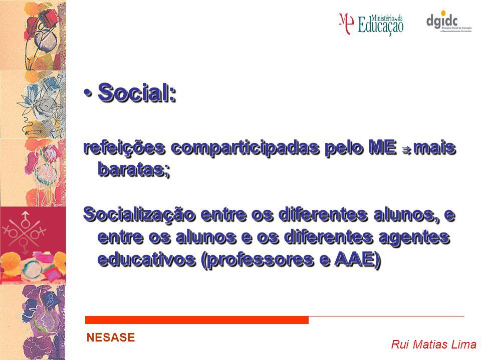 Rui Matias Lima NESASE Social:Social: refeições comparticipadas pelo ME ⇉ mais baratas ; Socialização entre os diferentes alunos, e entre os alunos e