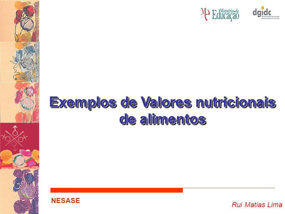 Rui Matias Lima NESASE Exemplos de Valores nutricionais de alimentos