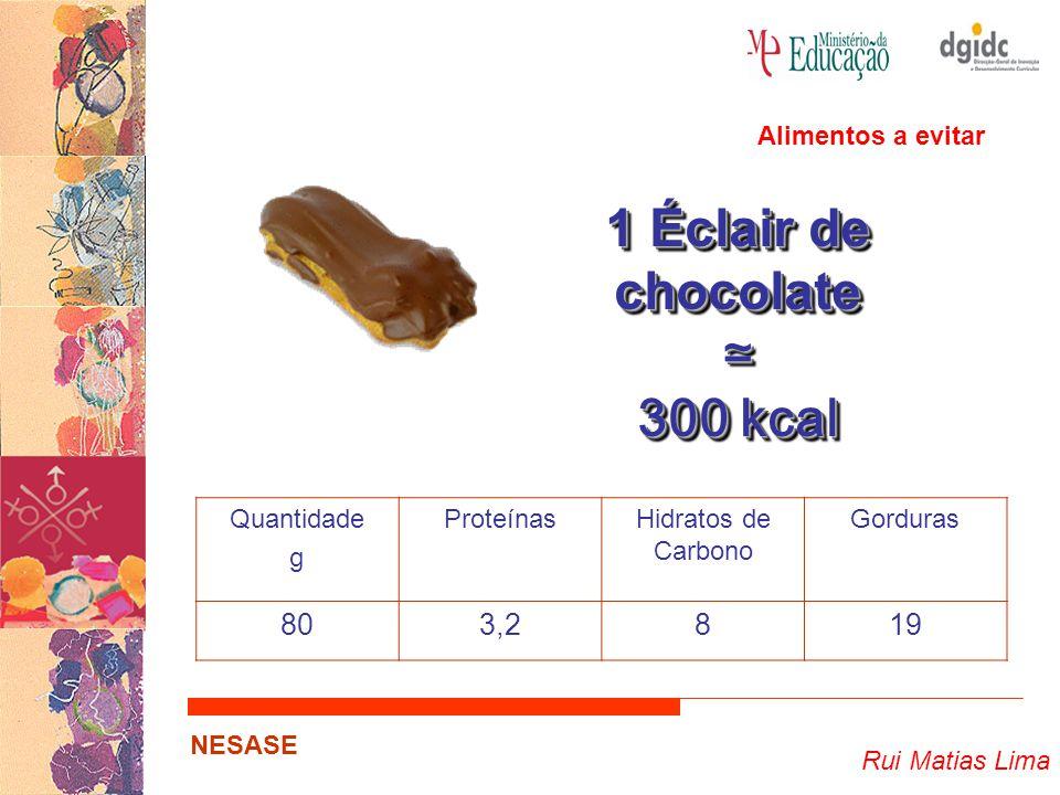 Rui Matias Lima NESASE 1 Éclair de chocolate ≃ 300 kcal 1 Éclair de chocolate ≃ 300 kcal Quantidade g ProteínasHidratos de Carbono Gorduras 803,2819 A