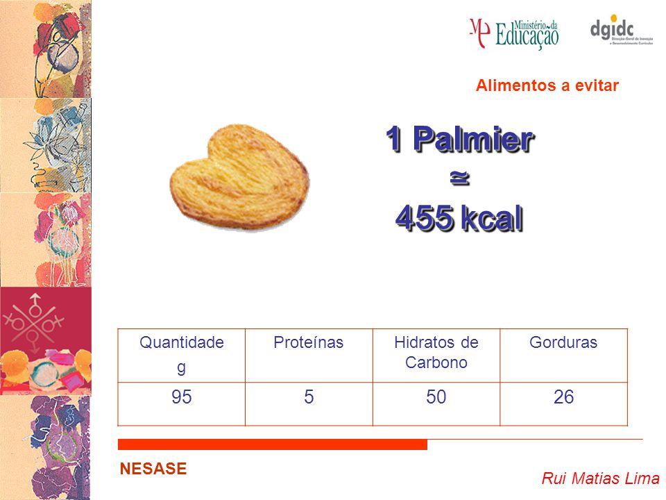 Rui Matias Lima NESASE 1 Palmier ≃ 455 kcal 1 Palmier ≃ 455 kcal Quantidade g ProteínasHidratos de Carbono Gorduras 9555026 Alimentos a evitar
