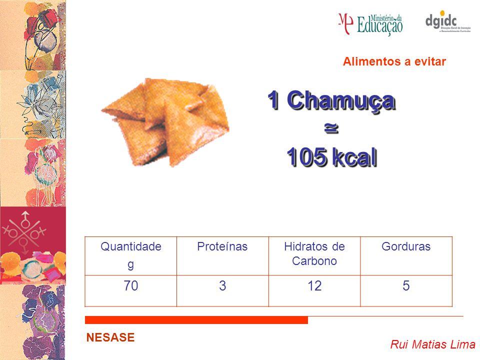 Rui Matias Lima NESASE 1 Chamuça ≃ 105 kcal 1 Chamuça ≃ 105 kcal Quantidade g ProteínasHidratos de Carbono Gorduras 703125 Alimentos a evitar