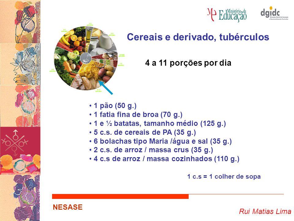 Rui Matias Lima NESASE Cereais e derivado, tubérculos 4 a 11 porções por dia 1 pão (50 g.) 1 fatia fina de broa (70 g.) 1 e ½ batatas, tamanho médio (125 g.) 5 c.s.
