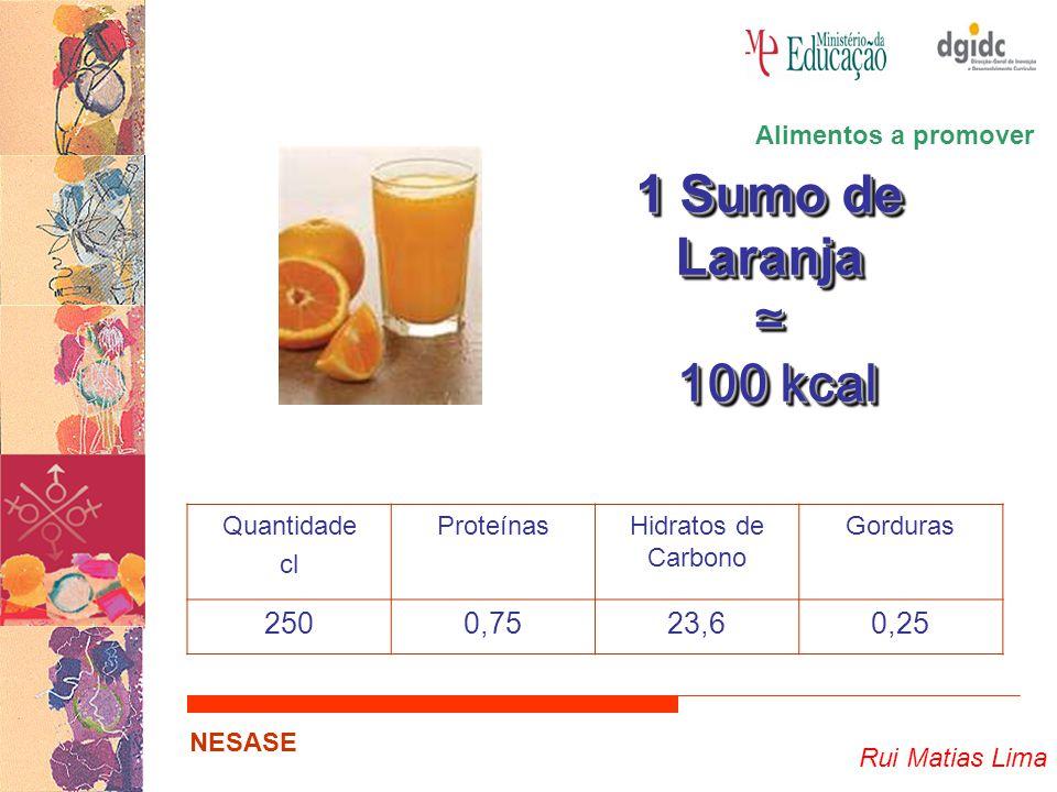Rui Matias Lima NESASE 1 Sumo de Laranja ≃ 100 kcal 100 kcal 1 Sumo de Laranja ≃ 100 kcal 100 kcal Quantidade cl ProteínasHidratos de Carbono Gorduras 2500,7523,60,25 Alimentos a promover