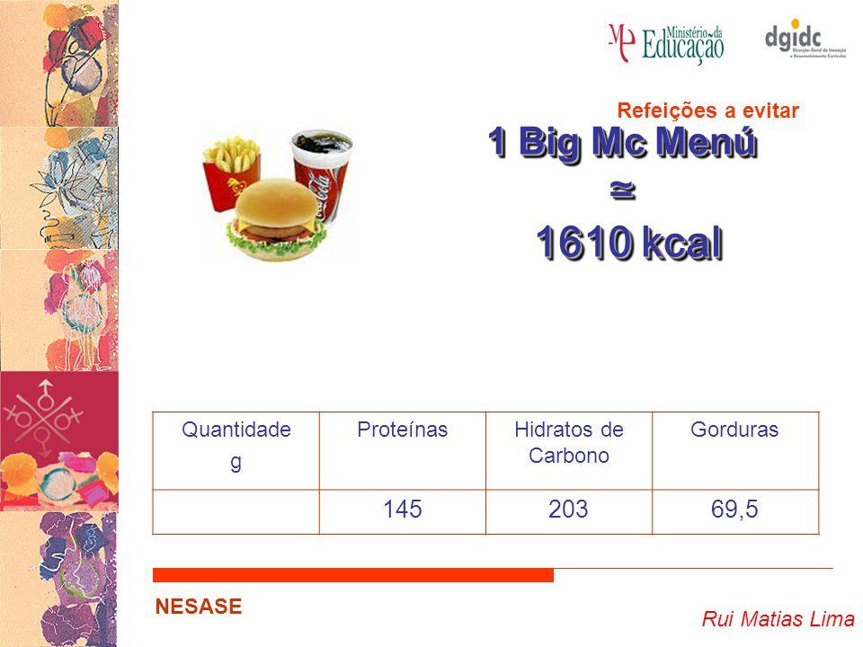 Rui Matias Lima NESASE 1 Big Mc Menú ≃ 1610 kcal 1610 kcal 1 Big Mc Menú ≃ 1610 kcal 1610 kcal Quantidade g ProteínasHidratos de Carbono Gorduras 14520369,5 Refeições a evitar