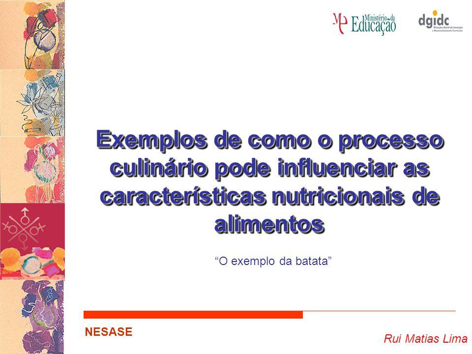 """Rui Matias Lima NESASE Exemplos de como o processo culinário pode influenciar as características nutricionais de alimentos """"O exemplo da batata"""""""