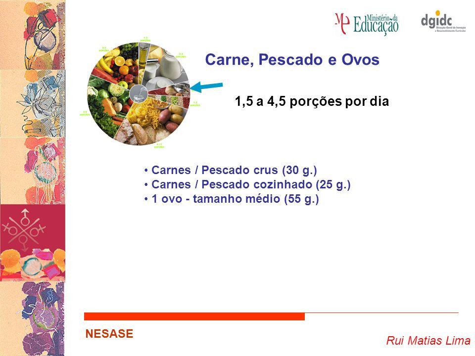 Rui Matias Lima NESASE Carne, Pescado e Ovos 1,5 a 4,5 porções por dia Carnes / Pescado crus (30 g.) Carnes / Pescado cozinhado (25 g.) 1 ovo - tamanh